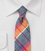 Madras Plaid Skinny Tie in Blues and Oranges