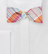 Orange and Tan Madras Bow Tie