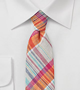 Madras Skinny Tie in Peach and Beige