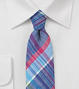 Blue and Pink Madras Necktie