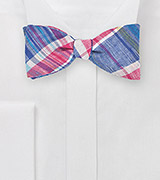 Madras Self Tie Bow Tie in Blue and Pink