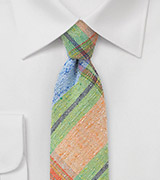 Orange, Green, and Blue Madras Plaid Necktie