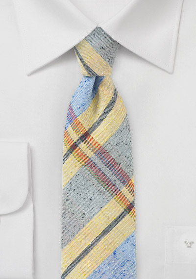 Summer Plaid Skinny Tie in Yellow and Blue