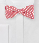 Red Linen Self Tie Bow Tie