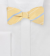 Vintage Yellow Striped Bow Tie