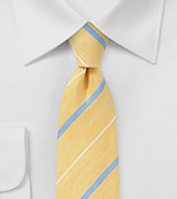 Striped Skinny Tie in Soft Yellow