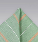 Vintage Striped Pocket Square in Light Green