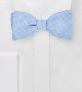 Blue Linen Self Tie Bow Tie