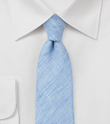 Coastal Blue Skinny Tie in Linen