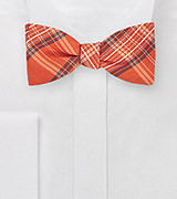 Modern Plaid Bow Tie in Tangerine