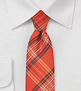 Tangerine Orange Plaid Tie