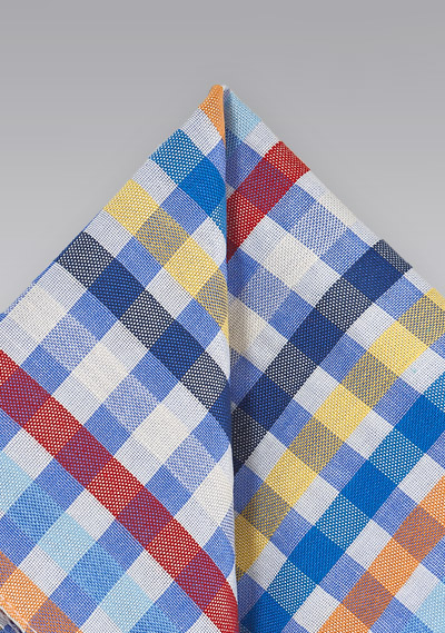 Modern Gingham Pocket Square in Blues