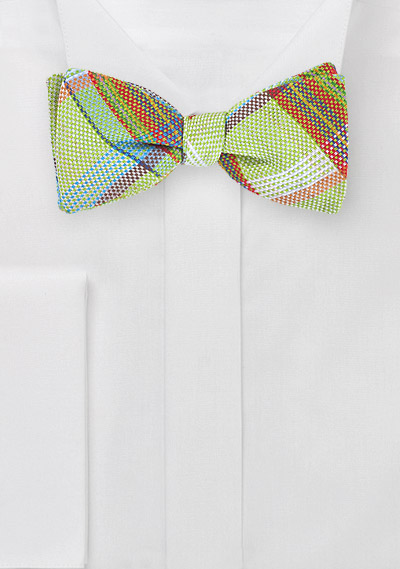 Self Tie Plaid Bow Tie in Limes