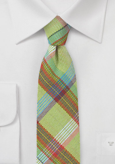 Lime Green Madras Plaid Tie