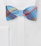 Textured Madras Plaid Bow Tie in Blues