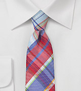 Ultra Skinny Plaid Tie in Blue and Red