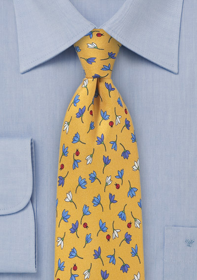 Summer Tie with Flowers and Lady Bugs