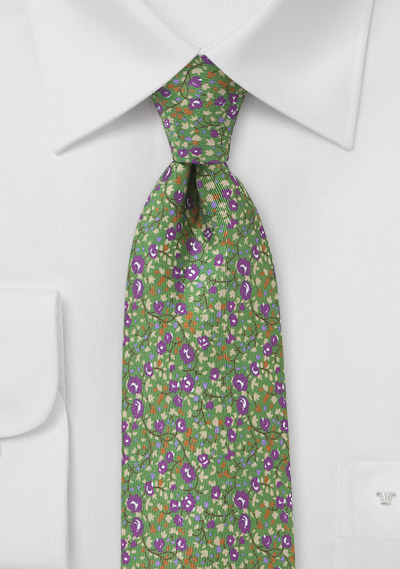 Clover Green Floral Tie