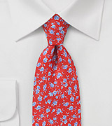 Coral Red and Sky Blue Floral Tie