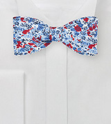 Red and Blue Floral Bow Tie