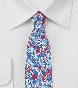 Floral Skinny Tie in Red and Blue
