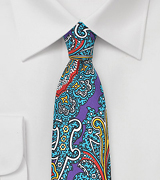 Colorful Spanish Paisley Silk Tie in Purple