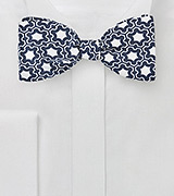 Modern Moroccan Print Bow Tie in Blue and White
