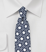 Vintage Print Skinny Tie in Blue and White