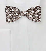 Modern Moroccan Print Bow Tie in Brown and White