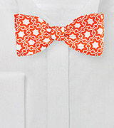 Modern Moroccan Print Bow Tie in Bright Orange and White