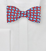 Pop Art Paisley Bow Tie in Red, Blue, White