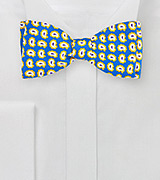 POP ART Paisley Bow Tie in Blue and Yellow