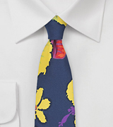 Hawaiian Hibiscus Floral Tie in Navy