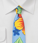 Summer Silk Tie with Bold Flowers in Skinny Cut