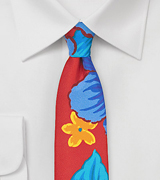 Skinny Silk Tie with Tropical Floral Print