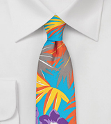 Aqua Blue Skinny Tie with Hawaii Print
