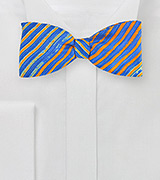 Tie Dye Striped Bow Tie in Orange and Blue
