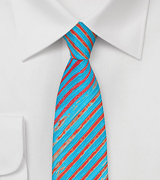 Tie Dye Striped Tie in Aqua and Orange