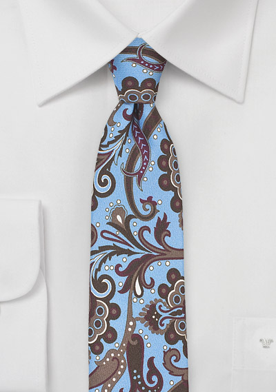 Retro Paisley Skinny Tie in Sky Blue and Brown