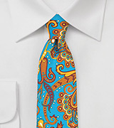 Turquoise and Tangerine Paisley Skinny Tie
