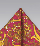 Bold Paisley Pocket Square in Coral and Gold