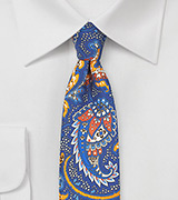 Summer Paisley Skinny Tie in Royal Blue and Tangerine