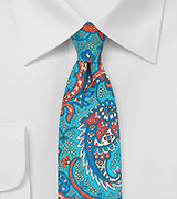 Skinny Summer Paisley in Aqua and Orange