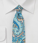 Skinny Paisley Silk Tie in Aqua and Gray