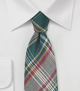Autumn Madras Plaid Necktie in Green and Brown