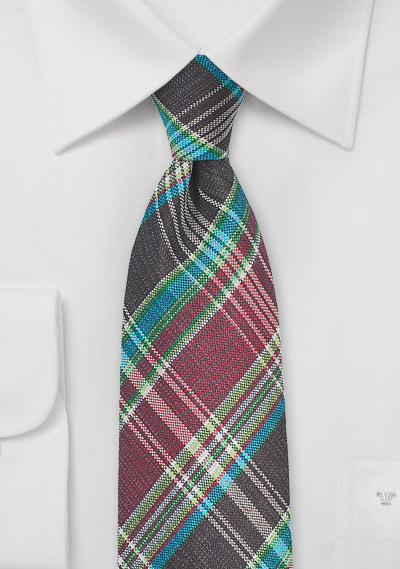 Autumn Madras Tie in Burgundy and Brown
