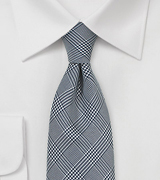 Charcoal and Silver Glen Check Silk Tie