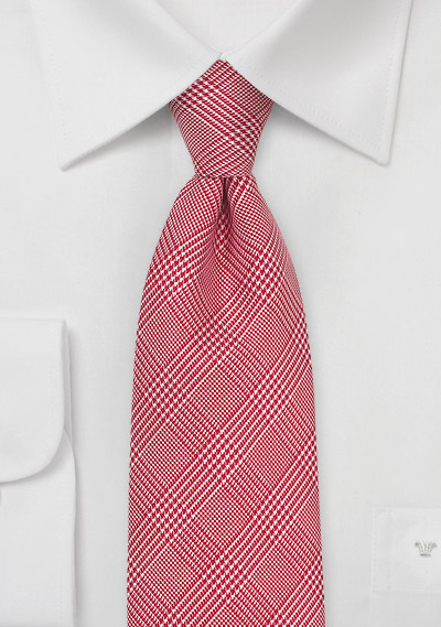 Glen Check Silk Tie in Bright Red