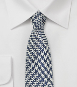 Glen Check Skinny Silk Tie in Navy and Silver