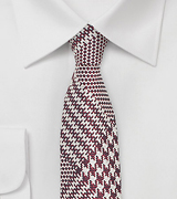 Glen Check Tie in Cognac and Silver